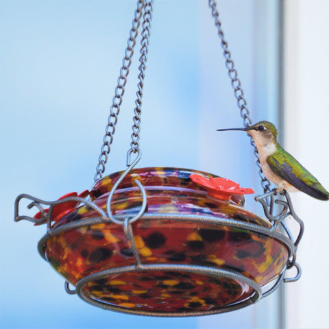 Hummingbird sitting on garden perch on Nature's Way red, yellow and black speckled hand blown glass garden hummingbird feeder