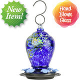 new item. hand blown glass. Artisan Gravity Hummingbird Feeder - Spring Rain
