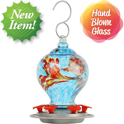 new item. hand blown glass. Artisan Gravity Hummingbird Feeder - sunny day