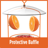 clear protective baffle included on the Nature's Way Wire Oriole Feeder