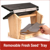 Demonstration of removable fresh seed tray on Nature's Way 6 QT Hopper cedar bird Feeder with two Suet Cages