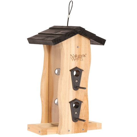 Nature's Way Vertical Wave cedar bird Feeder with two feeding ports and two feeding trays