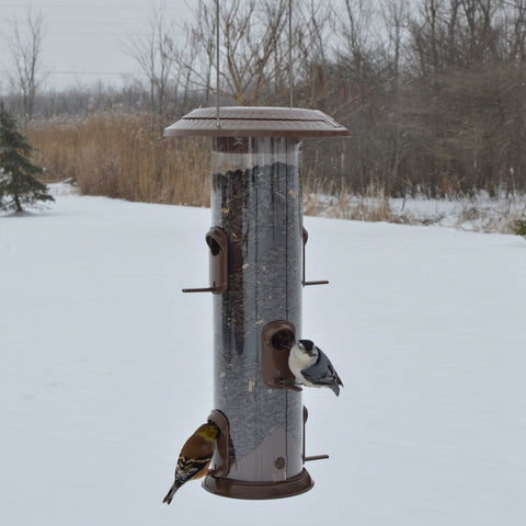 two birds feeding from the Wide Deluxe Funnel Flip-Top Tube Feeder (Model# WMFFB-19) in winter
