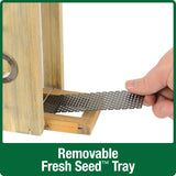 Demonstration of removable fresh seed tray on Nature's Way Wild Wingsdecorative weathered vertical feeder