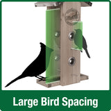 Demonstration of large bird spacing for Nature's Way Wild Wings decorative weathered vertical feeder