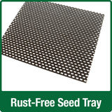 Demonstration of rust-free seed tray on Nature's Way Wild Wings decorative weathered vertical feeder