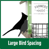 Demonstration of large bird spacing for Nature's Way Wild Wings Farmhouse Hopper Bird Feeder