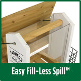 Demonstration of easy fill-less spill roof with no tools required on Nature's Way Wild Wings Farmhouse Hopper Bird Feeder