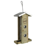 Side view of Wild Wings Nature's Way decorative weathered vertical feeder with clear plexi side inserts