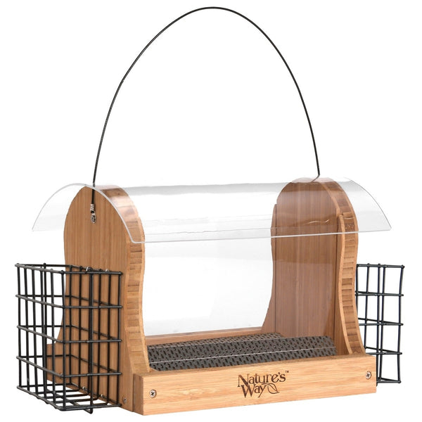 Nature's Way 4 QT bamboo Hopper bird Feeder with two Suet Cages