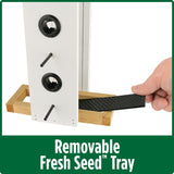 Demonstration of removable fresh seed tray on Nature's Way Wild Wings Farmhouse Vertical cedar bird Feeder