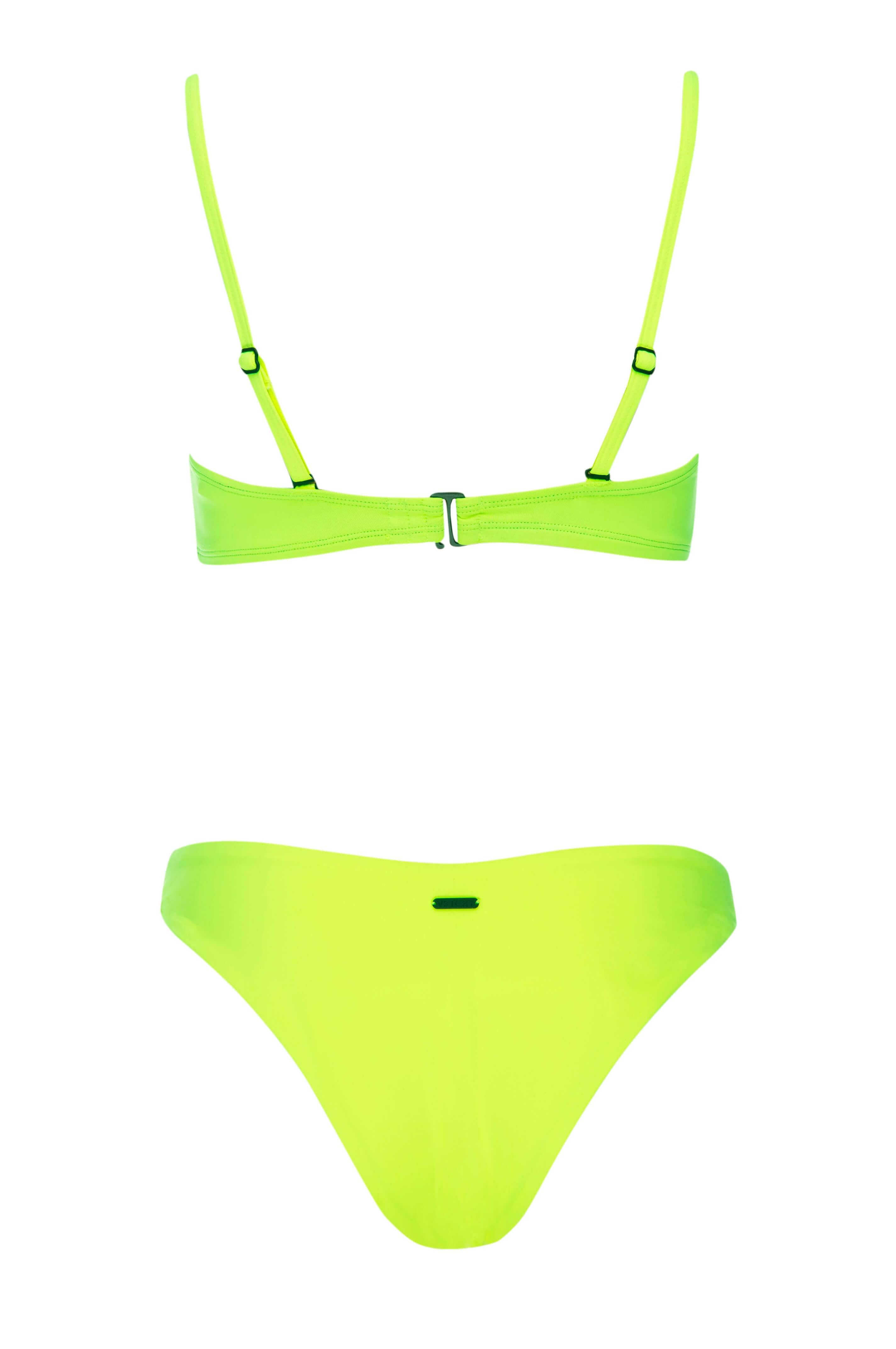 Vetchy Pool Party Balconette Bikini white background cheeky back view  this bikini is bright Neon yellow perfect for small boobs to create the illusion of bigger bust worn by celebrities on instagram