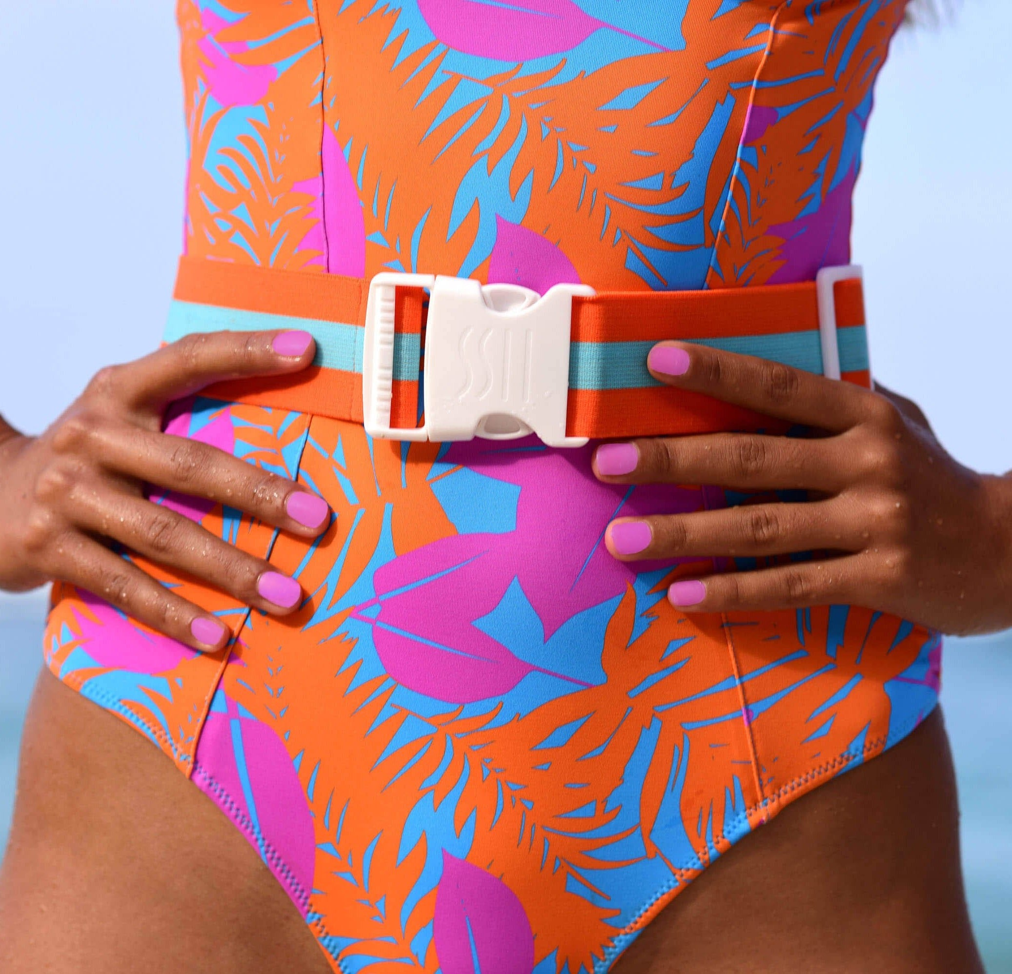 swimsuit belt tropical print orange purple and blue vetchy swimwear 2020