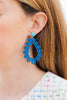 handmade designer womens blue laser cut wood earrings katie bartels