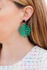 handmade designer womens green laser cut wood rima earrings katie bartels