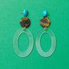 handmade designer womens tortoise and clear geometric laser cut resin earrings katie bartels