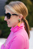 Circle & Tassel Earrings, neon red