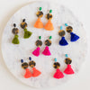 handmade designer womens tortoise circle and tassel earrings katie bartels
