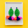 handmade womens green wood and colorful tassel earrings katie bartels