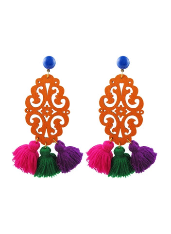 adna earrings, orange