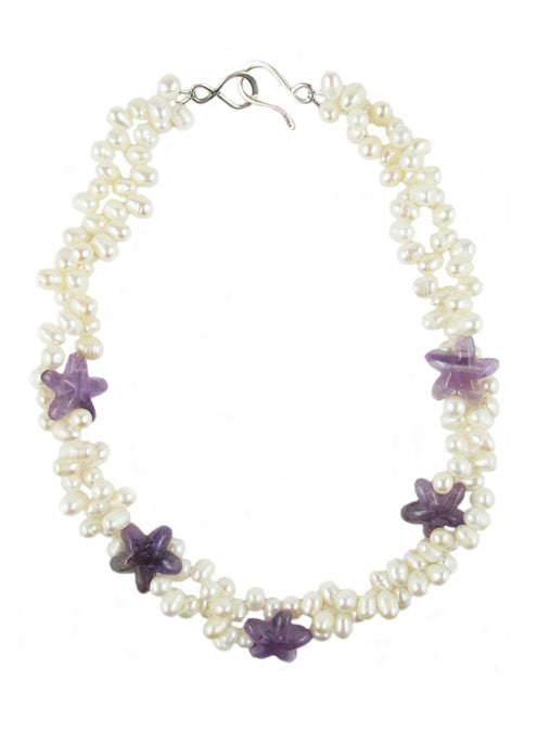 womens white pearl and purple amethyst amagansett necklace katie bartels