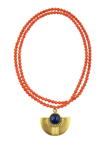 womens coral and royal blue amal necklace katie bartels