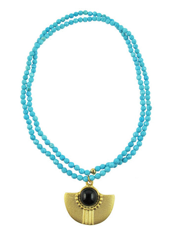 womens turquoise and black amal necklace katie bartels