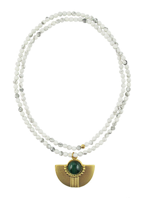 womens white howlite and green amal necklace katie bartels