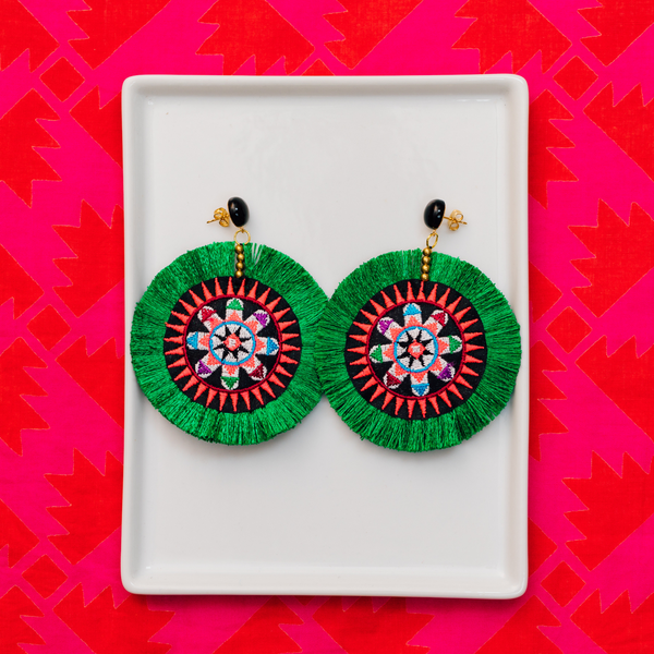 handmade womens green circle tassel earrings katie bartels