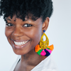 handmade womens yellow and colorful tassel earrings katie bartels