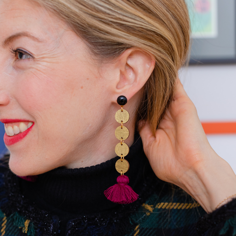 handmadew womens gold circle and burgundy tassel earrings katie bartels