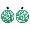 handmade designer womens green circle palm earrings katie bartels
