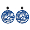 Circle Palm Earrings, royal blue
