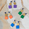 handmade womens gold circle and jewel tone square earrings katie bartels