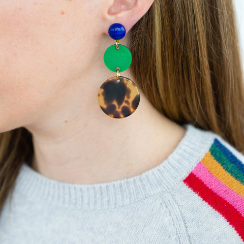handmade womens tortoise and green circle earrings katie bartels