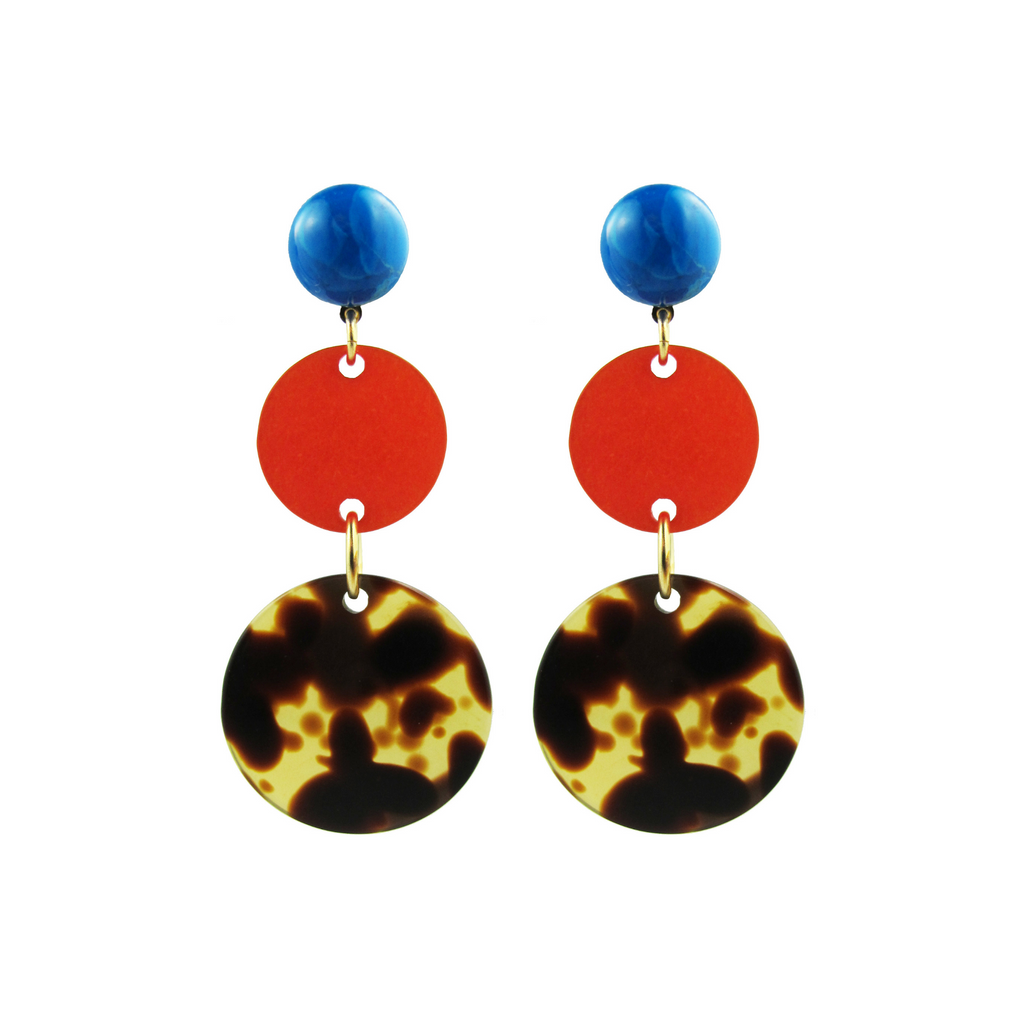 handmade designer womens circle orange and tortoise earrings katie bartels