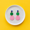 handmade womens pink and green circle earrings katie bartels