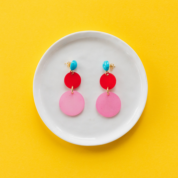 handmade womens pink and red circle earrings katie bartels