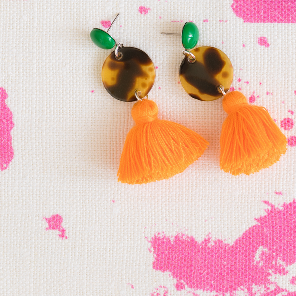 handmade womens tortoise circle and mango orange tassel earrings katie bartels