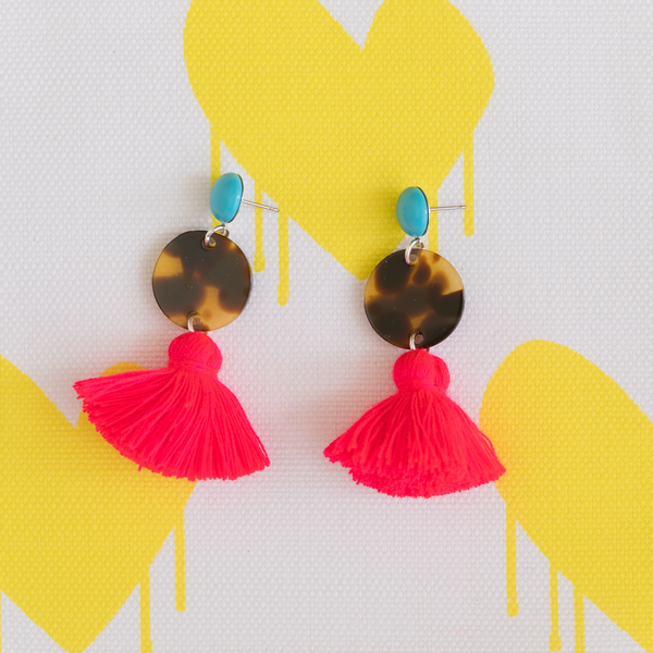 handmade womens tortoise circle and neon red tassel earrings katie bartels