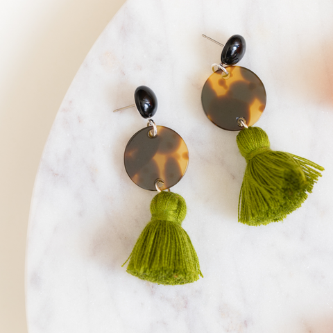 handmade womens tortoise circle and olive green tassel earrings katie bartels