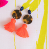 handmade womens tortoise circle and orange tassel earrings katie bartels