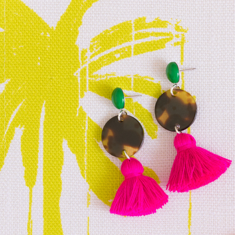handmade womens tortoise circle and pink tassel earrings katie bartels