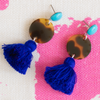 handmade womens tortoise circle and royal blue tassel earrings katie bartels