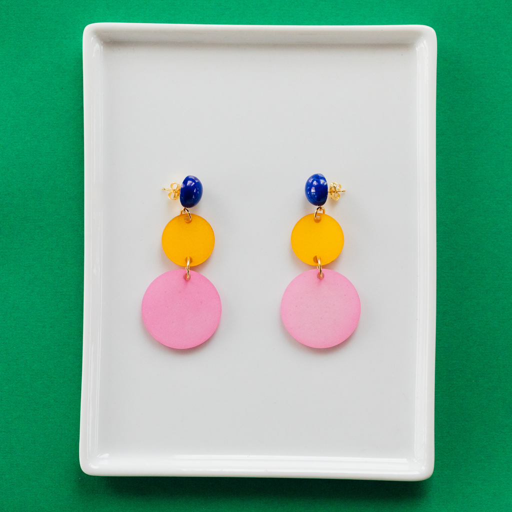 handmade womens pink and yellow circle earrings katie bartels