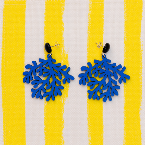 handmade womens royal blue coral earrings katie bartels