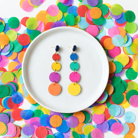 handmade womens multicolor graduated circle drop earrings katie bartels