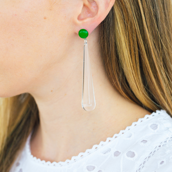 handmade womens clear drop earrings katie bartels