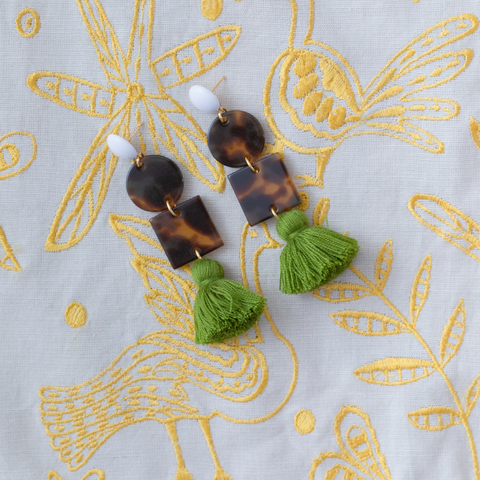 handmade womens tortoise and olive green tassel earrings katie bartels