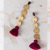 handmade womens gold circle and burgundy tassel drop earrings katie bartels